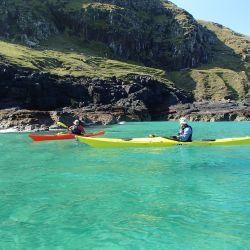 sea kayaks on fantastic clear ocean