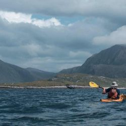 kayaker on the west coast of Harris