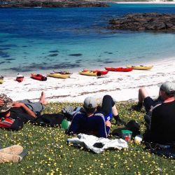 kayakers enjoying a picnic